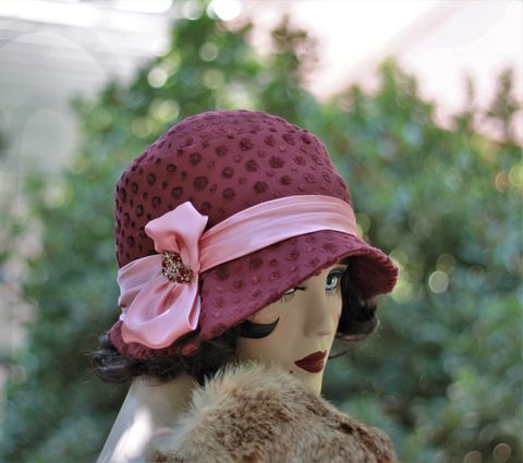 Fall,Winter,Warm,Cute,Hat,in,20s,Cloche,Flapper,Style,fall season hats, cloche winter hat, raspberry winter hat,flapper hat, classic hats, couture hat, cloche hat,fall hats, winter hat,chemo hats,chemo fashion hats