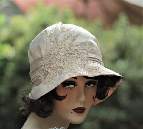 Vintage,Style,20s,Wedding,Bridal,Hat,Silk,and,Lace,elegant hats, womens hat, bridal hats, wedding hats, vintage style hats, lace hats, couture hats,ivory hats, custom made wedding hats,cloche hats