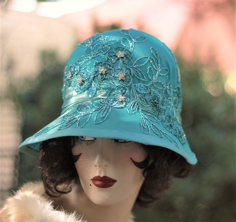 Formal,Fancy,1920s,Flapper,Great,Gatsby,Party,Hat,quality womens hats,millinery,vintage, style hats,cloche hats,20s party hat,flapper hats,chemo hats