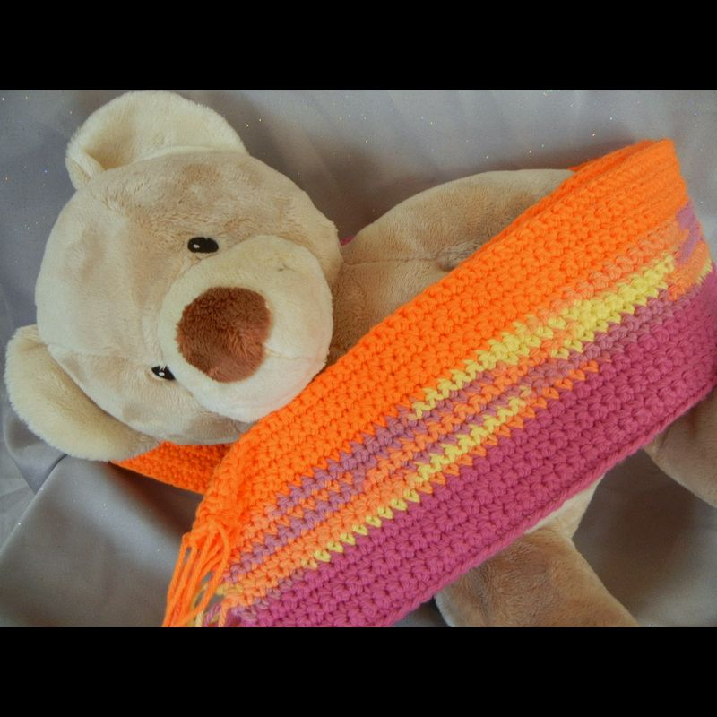 Striped Crochet Scarf Yellow Orange and Pink - product image