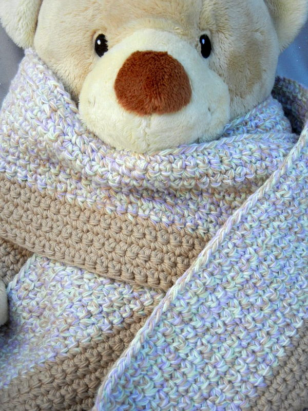 Crochet Scarf Tan White Lilac and Sage - product image