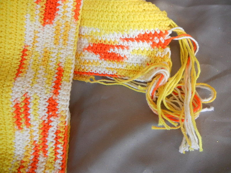 Cotton Crochet Scarf Yellow White and Orange - product image