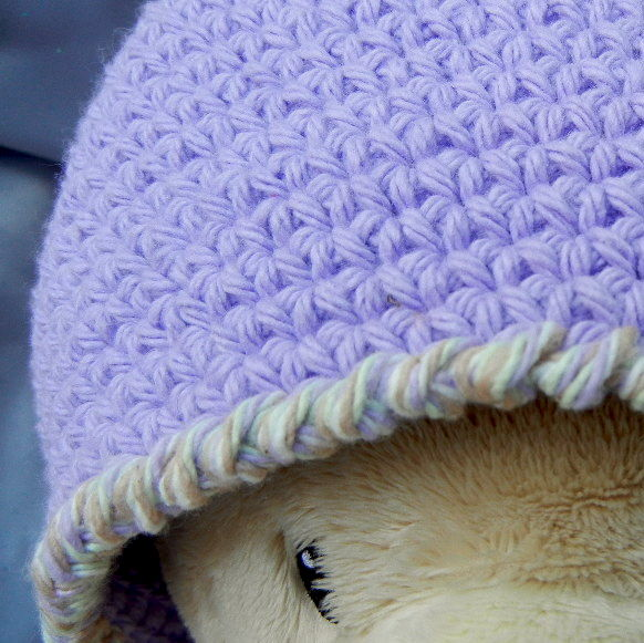 Lilac Crochet Hat Beanie Adult Size - product image