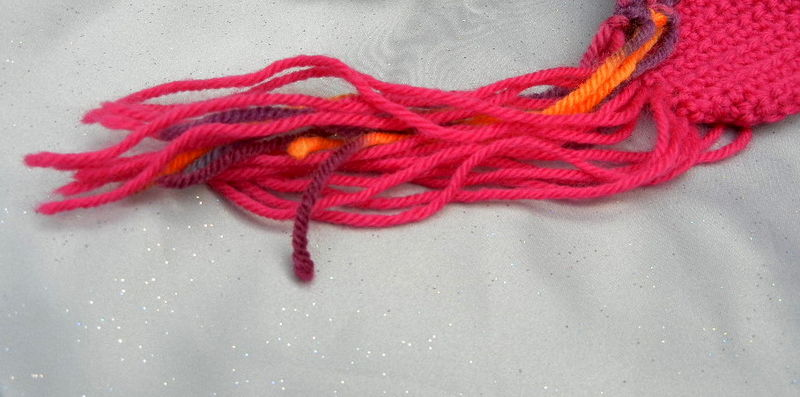 Crochet Wool Scarf Fuchsia Multicolor - product image