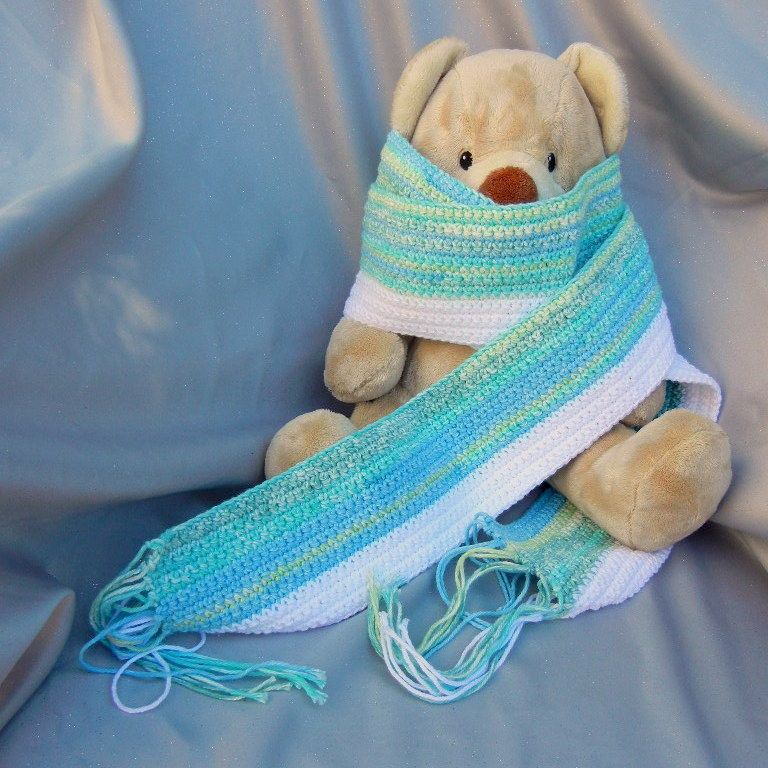 Cotton Crochet Scarf Blue and White Stripe - product image