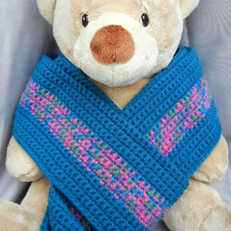 Wool Crochet Scarf Teal Stripes - product image