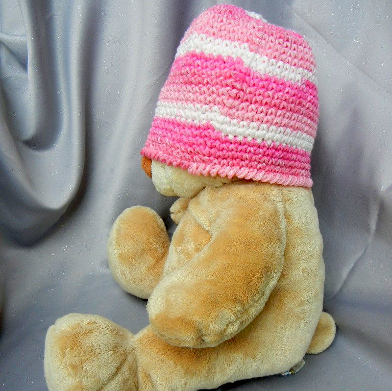 Kids Crochet Hat Pink Stripes - product image