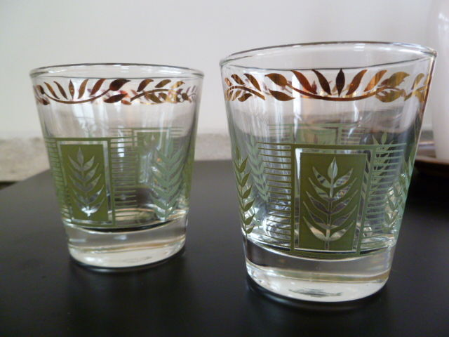 Vintage On the Rocks glasses, Pair of mid century modern rocks glasses