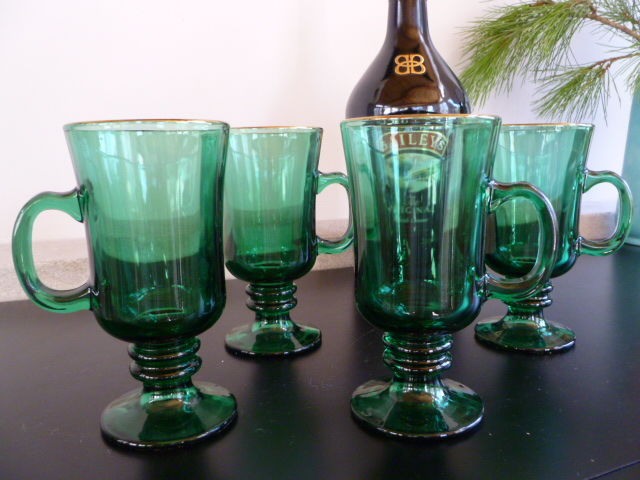 Vintage Libbey Emerald Green Irish Coffee Mugs, set of 4