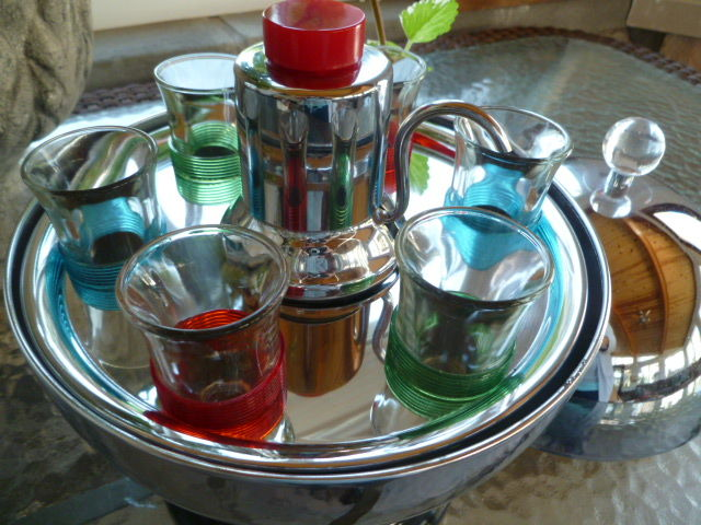 Mid century Chrome Shot glass and decanter bar set. Retro  bar set.