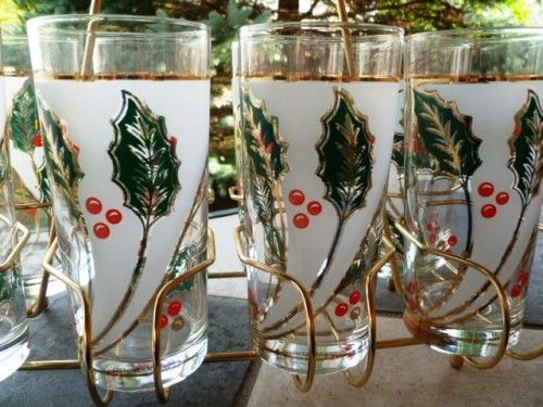Vintage Culver Holly Tall Drinks Glasses, set of 6 with golden Holder and Carry Caddy