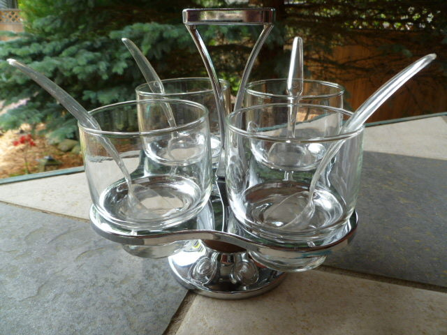 Vintage Lazy Susan condiment server, use for olives, cocktail onions, cherries and other garnishes or mixed nuts and snacks