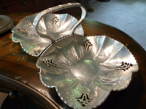Farber Shevlin Floral Aluminum Serving Basket, Hammered Aluminum Nut Dish  - product images  of