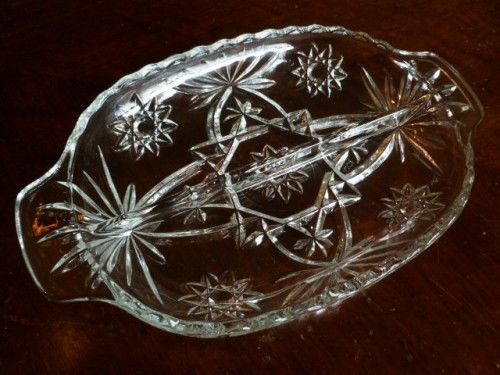 Cut Glass Relish Tray, Anchor Hocking Prescut Star of David Garnish or Nut Dish  - product images  of