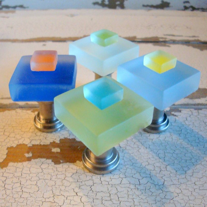 Small Beach Glass Cabinet Pull Drawer Knob $10 - product images  of