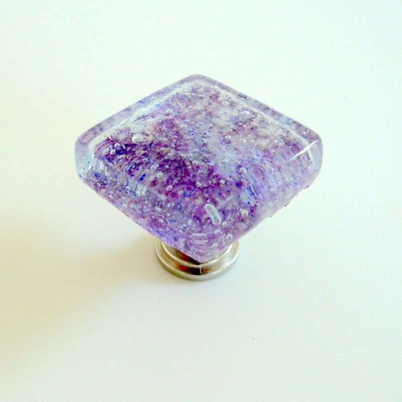 Fused Glass Cabinet Knob Drawer Pull Hardware Lavender Handmade $17.99 - product images  of