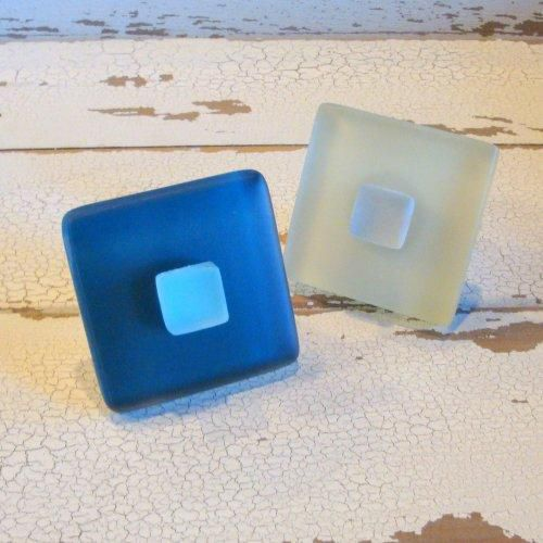 Cabinet Knob Square Drawer Pull Beach Glass - product images  of