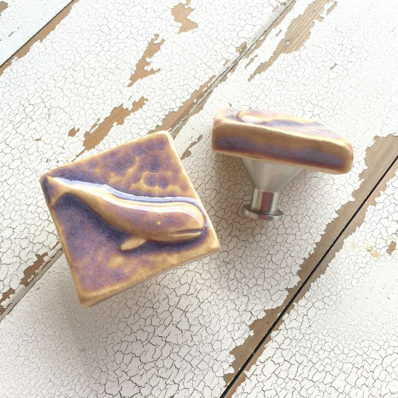 Whale Art Tile Cabinet Knob Drawer Pull Lilac - product image
