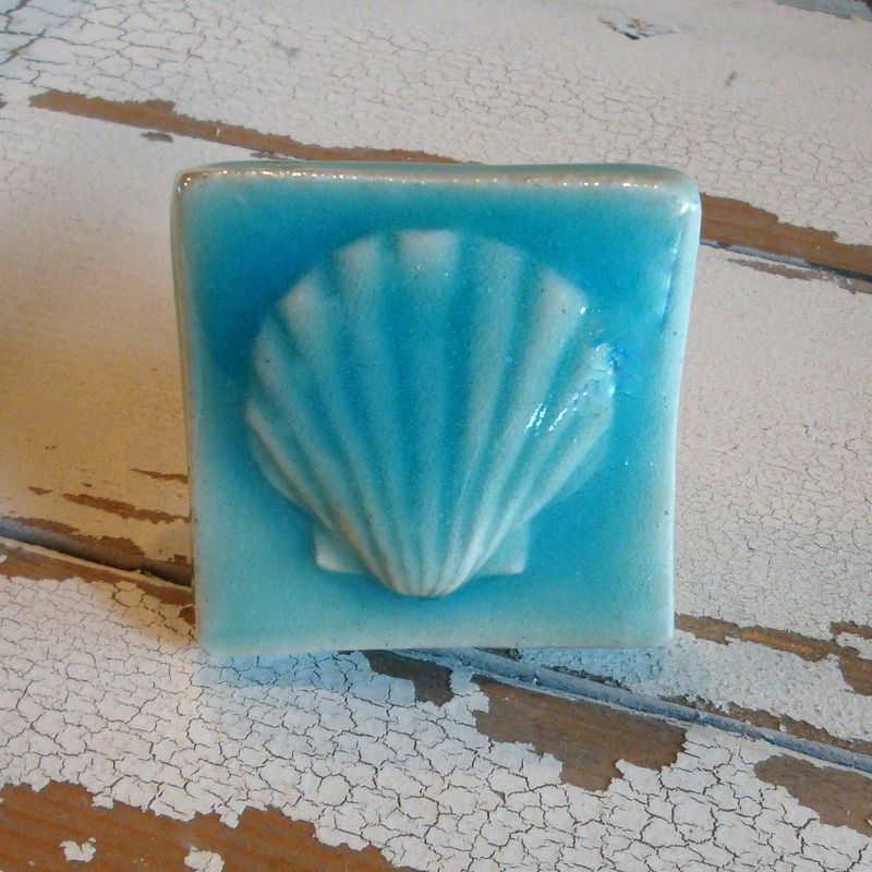 Shell Art Tile Cabinet Knob Drawer Pull Turquoise - product images  of