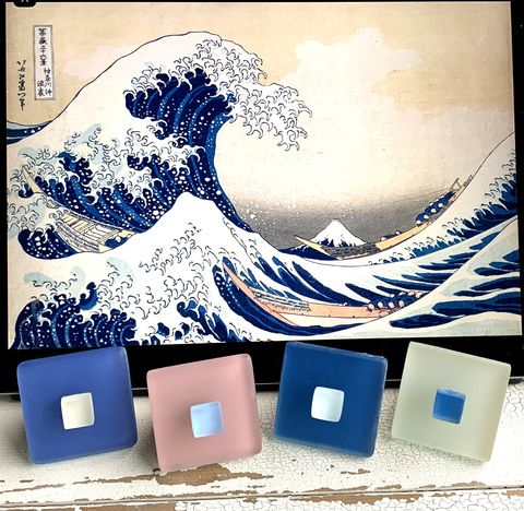 Beach,Glass,Knobs,Coordinated,with,The,Great,Wave,by,Hokusai,sea glass cabinet knobs, beach glass, drawer pulls
