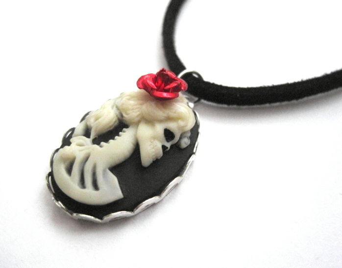 Skull Girl Cameo Necklace with Red Rose, Gothic Lolita - product images  of