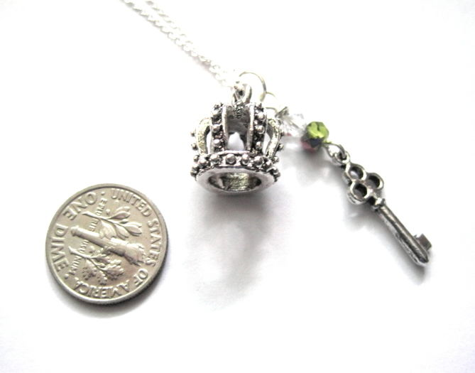 Silver Royal Crown Key Necklace, 3-D Crown Necklace - product images  of