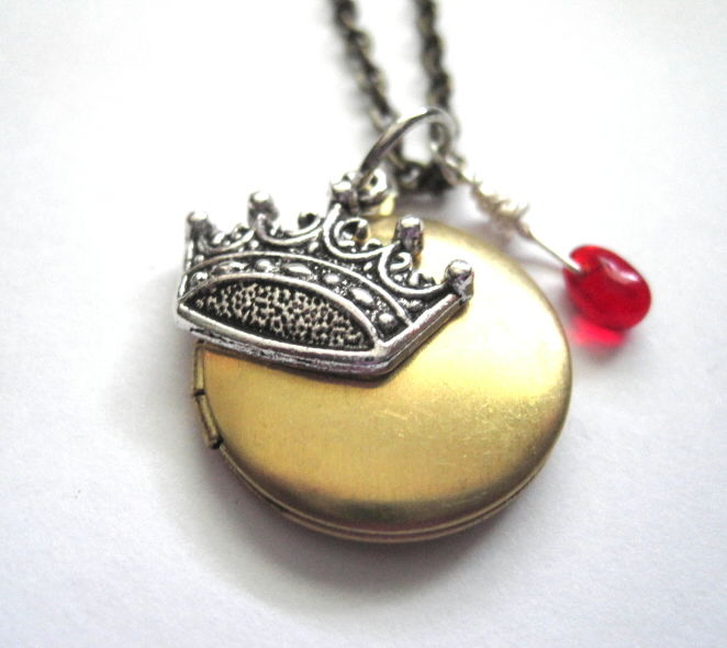 Royal Crown Round Locket Necklace, Antique Brass - product images  of