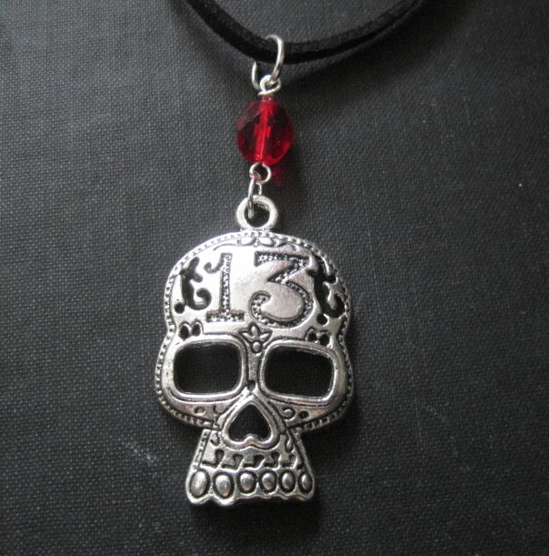 Big Metal Skull Cord Necklace, Skullie Choker - product images  of