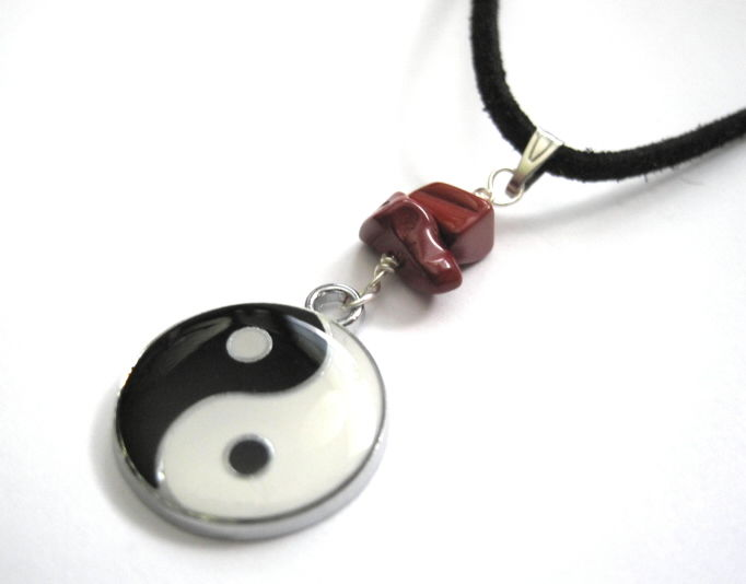 Yin Yang Dragon Double Side Red Jasper Cord Necklace - product images  of