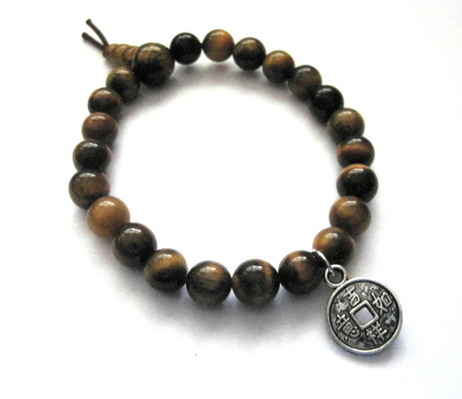 Chinese Lucky Coin Tiger Eye Bracelet - product images  of