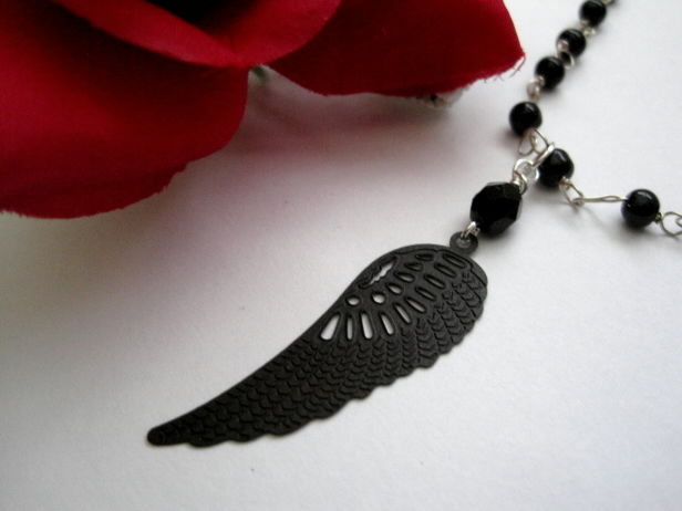 Angel Wing Black Beaded Necklace - product images  of