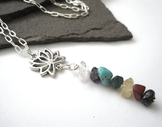 Chakra Gemstone Lotus Flower Necklace - product images  of