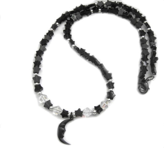 Crescent Moon Black Jasper Stars Necklace - product images  of