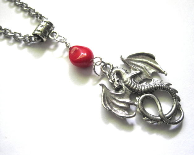 Dragon Spirit Red Coral Necklace Unisex Necklace - product images  of