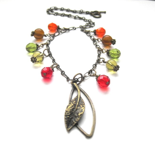 Autumn Leaves Ramble On Necklace Fall Leaf Necklace - product images  of