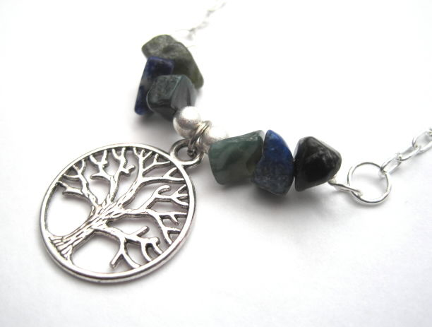 Tree of Life Necklace, Lapis Lazuli Jasper Necklace - product images  of