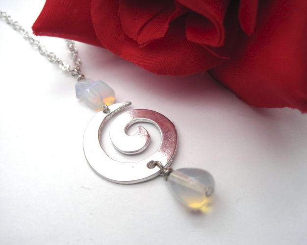 Moonstone Opalite Spiral Necklace - product images  of