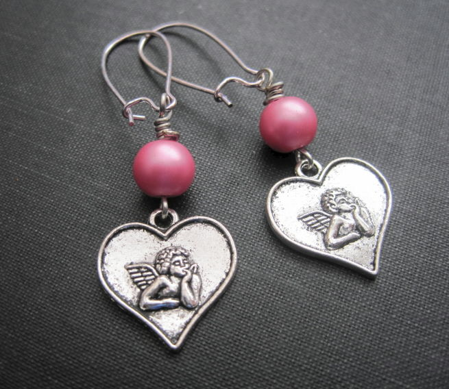 Angel Love Heart Cupid Cherub Dangle Earrings - product images  of