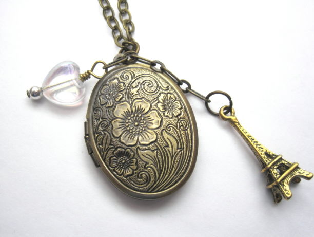 Eiffel Tower Floral Oval Locket Necklace - product images  of