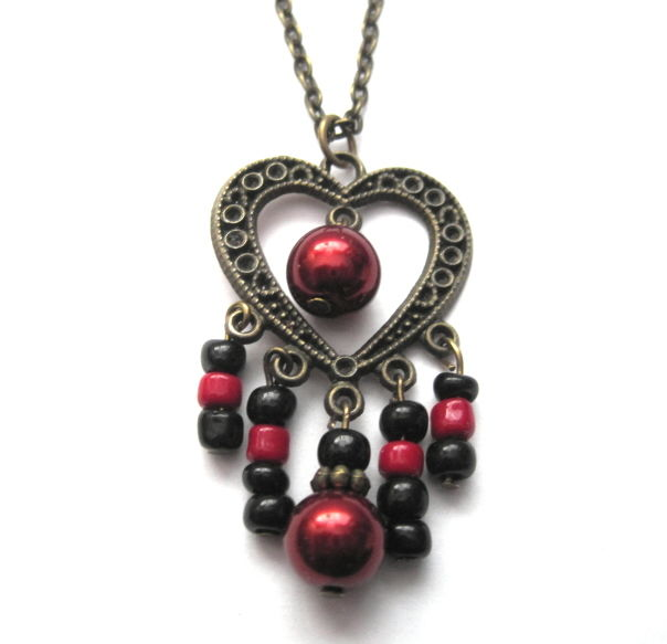 Antique Gold Heart Red Pearl Chandelier Necklace - product images  of