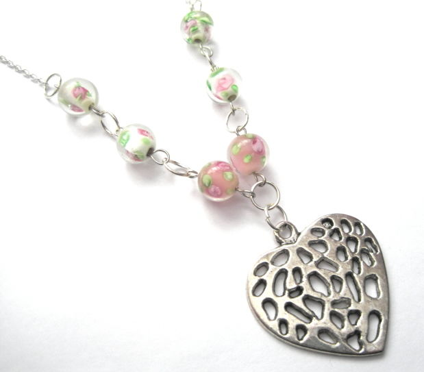 Heart and Pink Roses Love Necklace, Vintage Style Necklace - product images  of