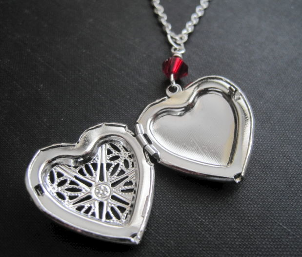 Antique Silver Filigree Heart Locket Necklace - product images  of