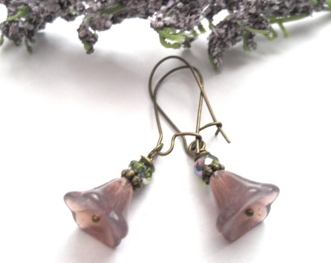 Bell Shape Purple Flower Antique Brass Dangle Earrings Vintage Style - product images  of