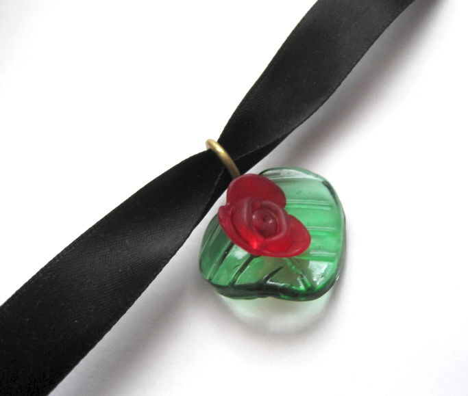 Red Rosebud Leaf Choker Necklace - product images  of