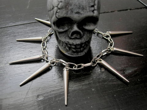 Vampire,Spike,Charm,Bracelet,,Gothic,Punk,Vampire Spike Charm Bracelet, spike charm bracelet, handmade jewelry, cosplay, gothic, punk, rock, charm bracelet, silver, spikey bracelet, vamps jewelry, vampire spike charm bracelet
