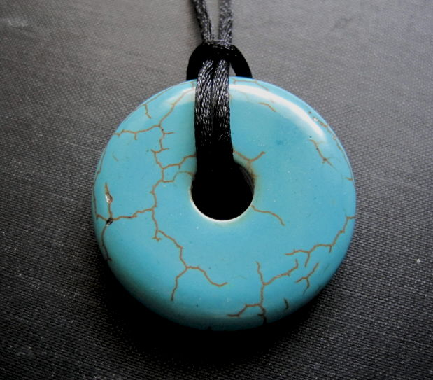 Turquoise Blue Howlite Donut Cord Necklace - product images  of