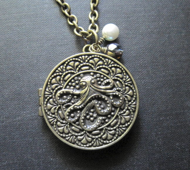 Octopus Sea Creature Locket Necklace - product images  of