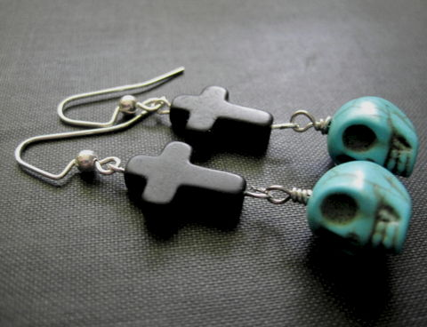 Gothic,Cross,Skull,Dangle,Earrings,,Turquoise,Magnesite,Gothic Cross Skull Dangle Earrings, Turquoise Magnesite, black cross, skull head, gothic jewelry, handmade jewelry