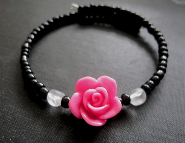 Rose Memory Wire Cuff Bracelet - product images  of