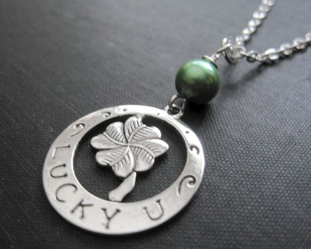 4 Leaf Clover Lucky You Necklace, Shamrock Necklace - product images  of